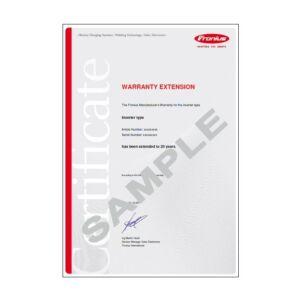 Fronius Extended Warranty Cert